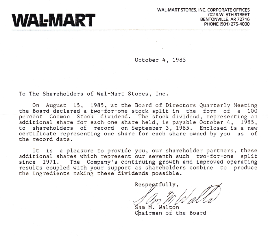 save Lessons From the Past   Walmart Dividend Letter From 1985