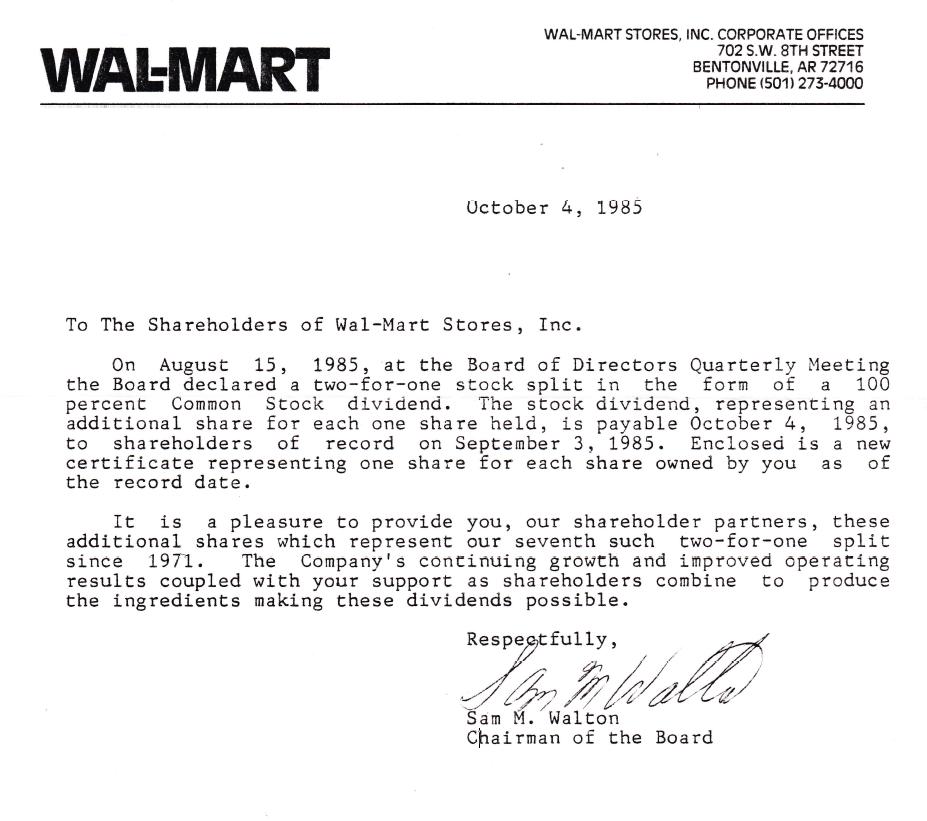 1985 Walmart Dividend Letter